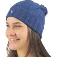 Gorro Feminino Pompom Chelsea Tricô Premium - Feminino-Azul 0938a7da248