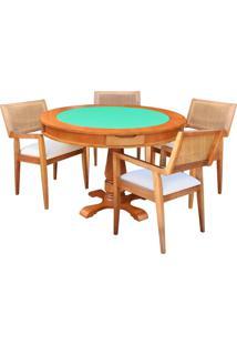 Mesa De Jogos Carteado Victoria Redonda Tampo Reversível Amêndoa Com 4 Cadeiras Megan Linho Bege - Gran Belo