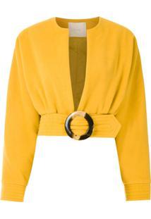 Framed Casaco Cropped Lainage - Amarelo