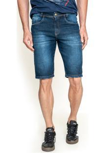 Bermuda Slim Lemier Jeans Com Bordado Azul