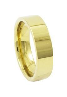 Aliança De Tungstênio New Tungsten 6Mm Reta Gold - Unissex-Dourado