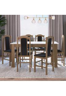 Conjunto Mesa Fixa Móveis Canção Com 6 Cadeiras