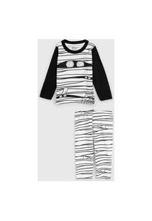 Pijama Elian Longo Infantil Múmia Branco/Preto
