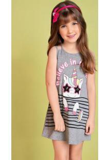 Vestido Infantil Curto Mescla Com Alças Rovitex