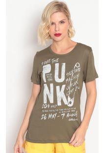 """Camiseta """"Punk""""- Verde Militar & Branca- Colccicolcci"""