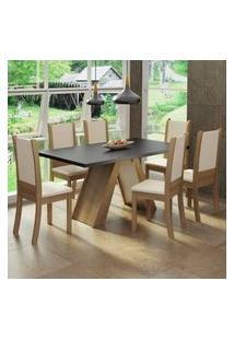 Conjunto Sala De Jantar Madesa Paola Mesa Tampo De Madeira Com 6 Cadeiras Rustic/Preto/Crema/Bege