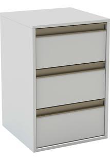 Mesa De Cabeceira Com 3 Gavetas C/ Puxador De Calha 5120 -Belmax - Branco