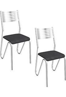 Kit Com 02 Cadeiras Nápoles Cromada - 2C045Cr - 110 - Assento Corino Preto - Kappesberg