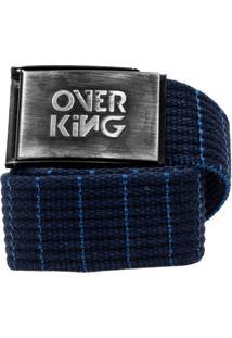 Cinto Overking Basico Fivela Escovado / Azul Prespontado