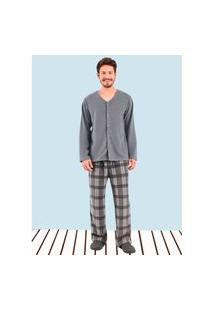 Pijama Manga Longa Soft Aberto Bryan Pijama Manga Longa Soft Aberto Bryan Cinza Claro P