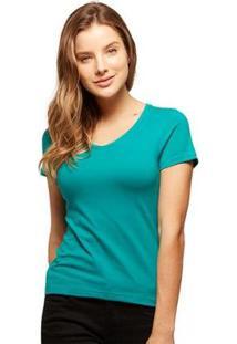Camiseta Basicamente Babylook Gola V Feminina - Feminino-Verde