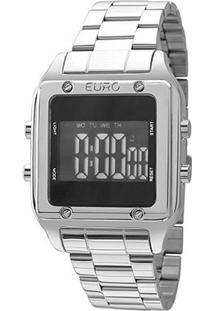 Relógio Digital Euro Fashion Fit Feminino - Feminino-Prata