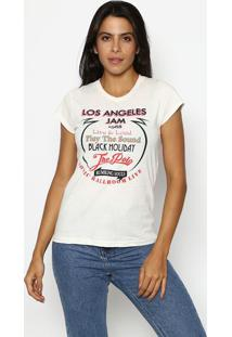 "Camiseta ""Los Angeles Jam""- Branca & Vermelha- Club Club Polo Collection"