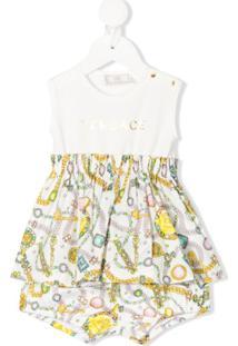 Young Versace Vestido Com Estampa De Joias - Branco