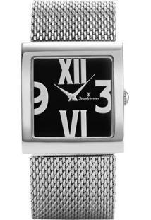 Relógio Analógico Jv00145- Preto & Prateado- Jean Vejean Vernier