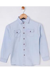 Camisa Jeans Manga Longa Juvenil Para Menino - Azul Claro