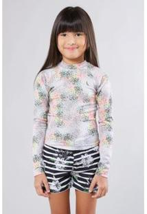Camiseta Infantil Lycra Liberty Estrelar Reserva Mini Feminina - Feminino-Cinza