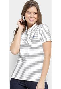 Camisa Polo Lacoste Polo Mc Feminina - Feminino-Branco+Azul