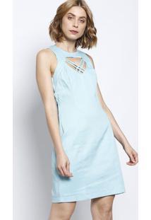 Vestido Texturizado Com Tiras - Azul Claromoiselle