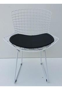Cadeira Bertoia Pintada Branco Assento Preto - 22067 - Sun House
