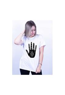 Camiseta Corte A Fio Bilhan Mão Gde Branca