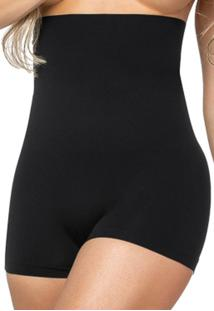 Calcinha Modeladora Zee Rucci Boxer Alta Sem Costura Preta - Tricae