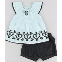 87664bf031 Conjunto Para Menina Jeans Preto infantil