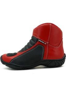 Bota Motociclista Couro Nobuck Semi Impermeável Conforto Vermelho