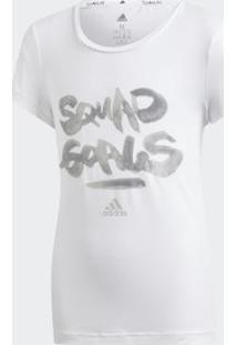 Camiseta Infantil Adidas Squad Feminina - Feminino-Branco