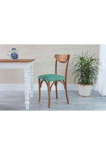 Cadeira De Madeira Moderna Estofada Amélie - Stain Jatobá - Tec.950 Turquesa - 44,5X45X81 Cm