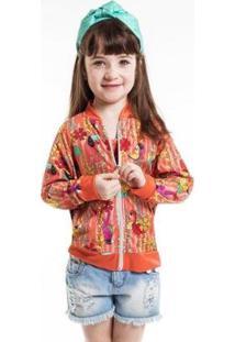 Jaqueta Infantil Bomber Arara Feminina - Feminino-Pink+Laranja