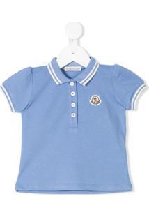 Moncler Kids Camisa Polo Com Manga Princesa - Azul