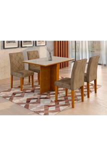 Conjunto De Mesa De Jantar Com Vidro E 4 Cadeiras Ane I Suede Animalle Imbuia E Chocolate