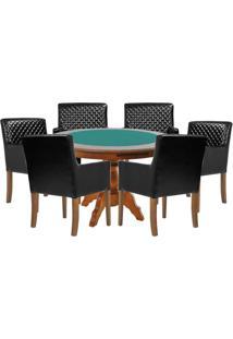Mesa De Jogos Carteado Redonda Montreal Tampo Reversível Amêndoa Com 6 Cadeiras Liverpool Corino Preto Matelassê - Gran Belo