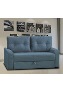 Sofá Cama Matrix Hebe 2 Lugares Suede Pena Azul Com Almofadas