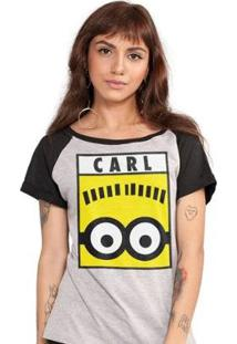 Camiseta Bandup! Raglan Minions Carl - Feminino-Mescla