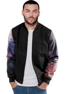 Jaqueta Bomber Chess Clothing Manga Galaxia Preto