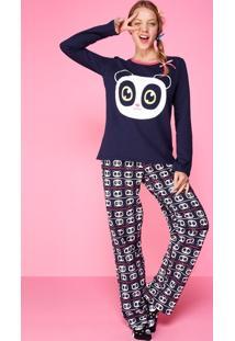 Pijama Manga Longa Panda Adulto