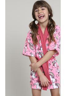 Roupão Infantil Atoalhado Estampado De Unicórnios Com Bolso Manga Curta Rosa Neon