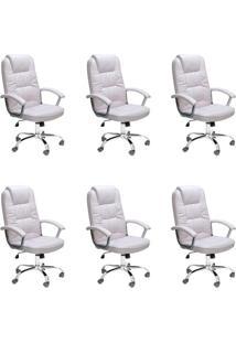 Conjunto Com 6 Cadeiras De Escritório Presidente Giratórias Finland Branco
