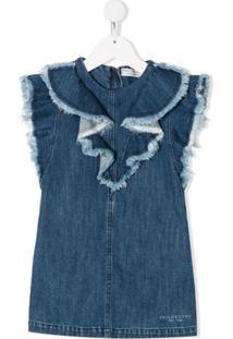 Philosophy Di Lorenzo Serafini Kids Vestido Jeans Com Barra Desfiada - Azul