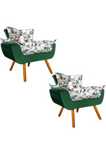Kit 02 Poltrona Decorativa Opala Composê Estampado Floral D68 E Peach Verde Esmeralda - D'Rossi