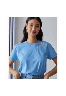 Amaro Feminino T-Shirt Floral Bordado, Azul