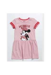 Vestido Infantil Manga Curta Minnie Disney Tam 4 A 10