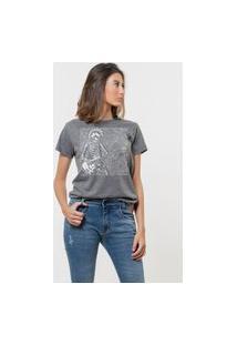 Camiseta Jay Jay Básica Guitarrist Skull Chumbo
