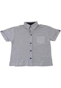 Camisa Piquet Hommer Manga Curta Lisa Botão Cinza