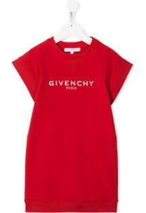 Givenchy Kids Vestido De Tricô Com Logo - Vermelho