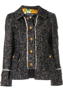 Dolce & Gabbana Jaqueta De Tweed Com Logo - Preto