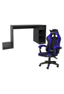 Conjunto Playerxtreme Mesa Preto Texturizado E Cadeira Gamer Azul - Gran Belo