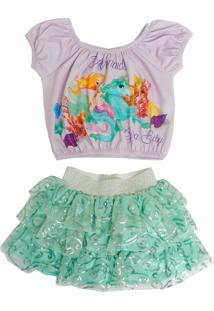 Conjunto Infantil Gira Baby Kids Camiseta E Saia Sereia Lilas